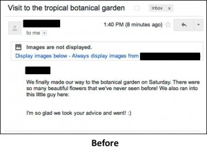 Gmail Inbox - Before images being displayed by default